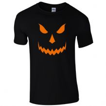 Halloween Scary T-Shirt - Pumpkin Orange Face Freaky Horror Unisex Mens Gift Top
